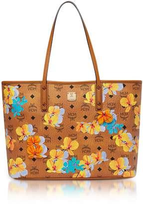 MCM Essential Visetos Floral Print Cognac Top Zip Medium Tote Bag