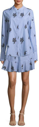 Derek Lam 10 Crosby 2-in-1 Striped Floral-Print Shirtdress with Flounce Hem