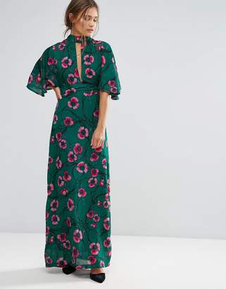 Liquorish Kimono Sleeve Floral Print Maxi Dress