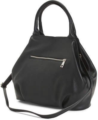 Made In Italy Large Convertible Leather Bowler Bag
