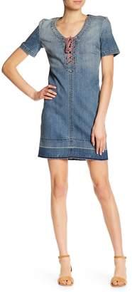 Level 99 Katie Denim Tie Up Shift Dress