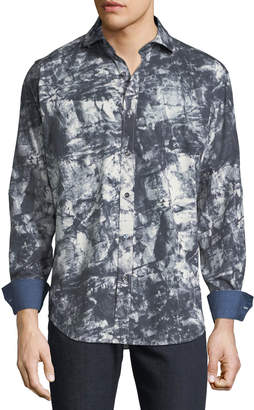 Bugatchi Men's Classic-Fit Abstract-Print Woven Sport Shirt