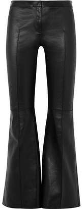 Alexander McQueen Cropped Leather Flared Pants - Black