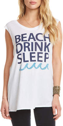 Chaser Beach Drink Sleep Slogan Muscle Tee