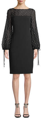 Badgley Mischka Crystal-Trim Balloon-Sleeve Sheath Cocktail Dress