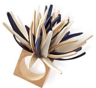Kim Seybert Quill Napkin Ring, Blue Pattern