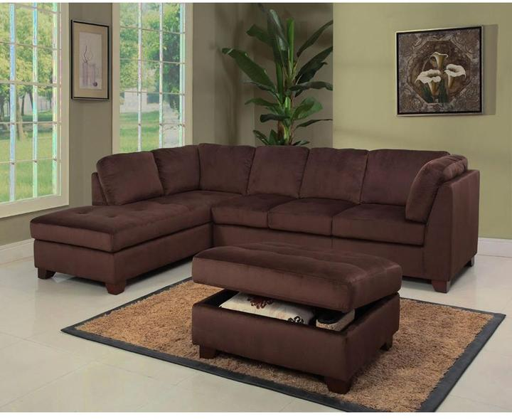 Abbyson Living Barclay Brown Sectional Sofa and Storage Ottoman Set