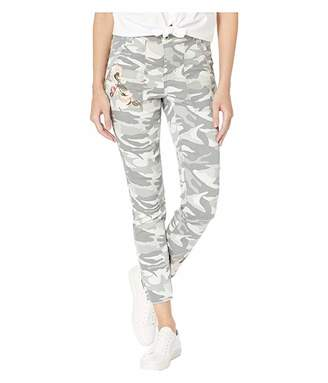 Tribal Printed Stretch Twill Leggings w/ Patch Pocket Embroidered Detail