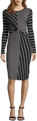 Spense Long Sleeve Stripe Bodycon Dress