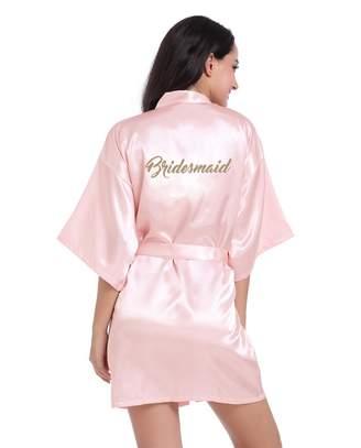 Honeystore Women s Short Kimono Bridesmaids Robes for Bride Wedding Party L f16419034