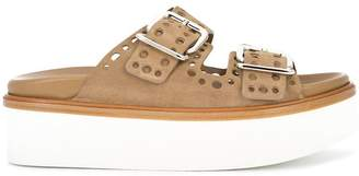 Tod's punched hole double buckle sandals