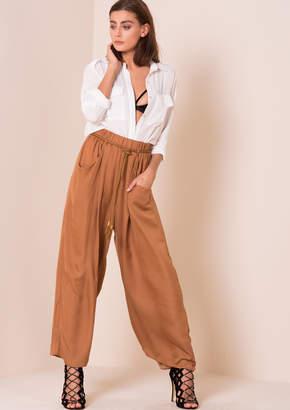 cec31ba869c9ee Missy Empire Alice Rust Rope Belt Wide Leg Trousers