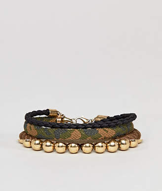 Asos DESIGN Camouflage Bracelet Pack With Beads In Khaki