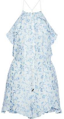 Zimmermann Ruffle-Trimmed Embroidered Cotton-Gauze Playsuit