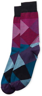 Bruno Magli Diamond Stripe Crew Socks