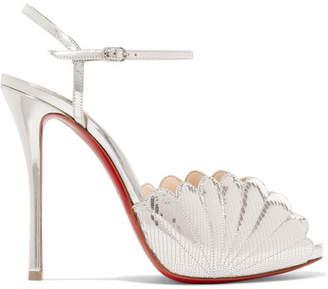 Christian Louboutin Botticella 120 Metallic Lizard-effect Leather Sandals - Silver