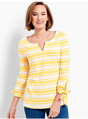 Talbots Split-Neck Tunic - Azalea Stripe