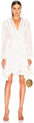 Zimmermann Moncur Frill Wrap Short Dress in Pearl | FWRD