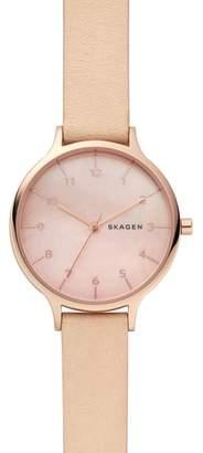 Skagen Anita Leather Strap Watch, 36mm