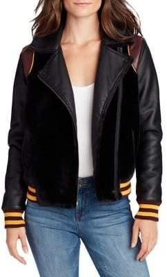 William Rast Noelie Faux-Fur Detail Varsity Moto Jacket