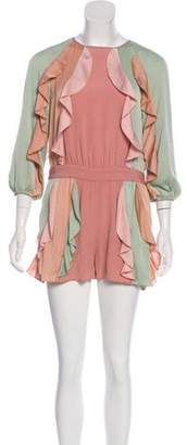 Alexis Ruffle-Accented High-Rise Jumpsuit w/ Tags