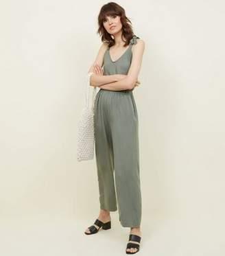 d442719b3ea New Look Cameo Rose Khaki Tie Strap Wide Leg Jumpsuit