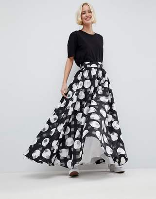 Asos Stripe And Spot Full Maxi Skirt