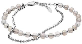 Fossil Silver Semi-Precious Double-Chain Bracelet Jewelry