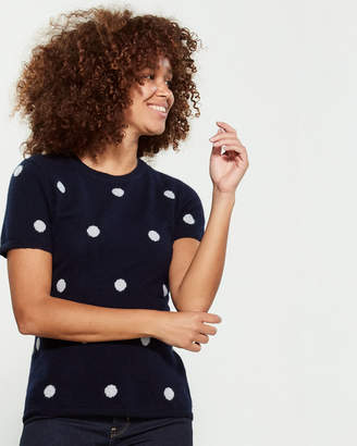 Qi Polka Dot Short Sleeve Cashmere Sweater