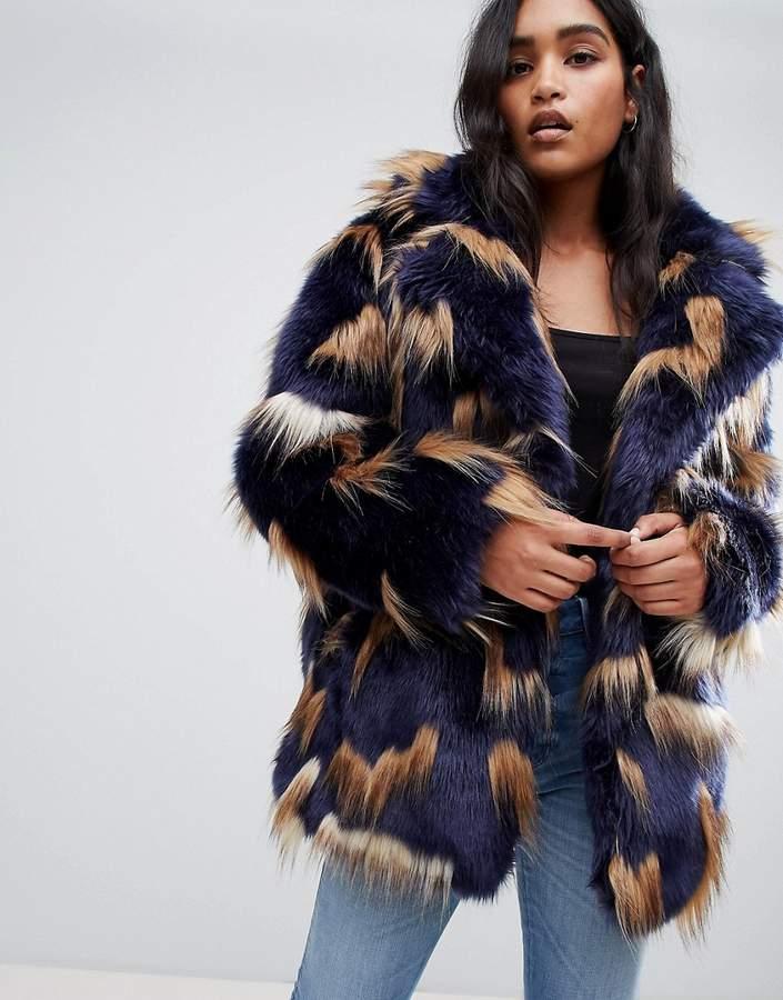 ASOS DESIGN patched faux fur coat