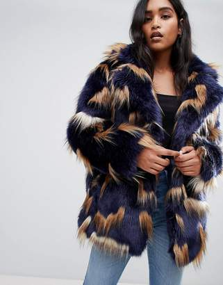 Asos DESIGN patched faux fur coat