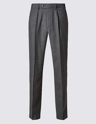 Marks and Spencer Regular Wool Blend Single Pleated Trousers
