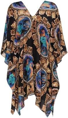 Kimberly Mcdonald V-neck print crystal silk kaftan dress