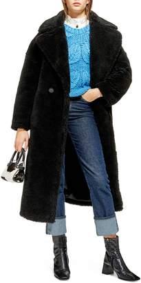 Topshop Whinnie Faux Fur Borg Coat