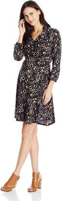 Everly Grey Women's Maternity Sicily Long Sleeve Faux Wrap and Nursing Dress