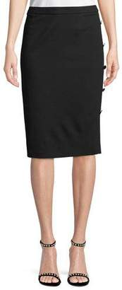 Escada Jersey Pencil Skirt with Side-Button Details