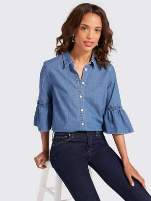 Draper James Chambray Bell-Sleeve Button Down