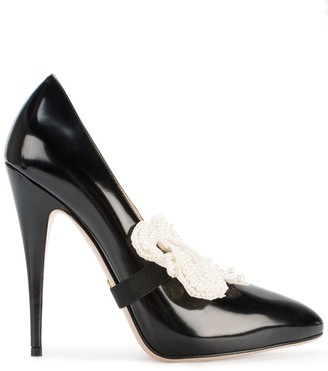 Gucci removable bow pumps