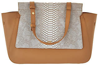 Halston H by Smooth Leather Satchel with SnakeEmbossed Flap