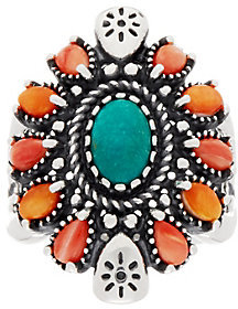 American WestAmerican West Sterling Silver Spiny Oyster Shell & Turquoise Oval Ring
