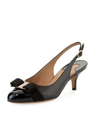 Salvatore Ferragamo Feed Vara Bow Patent Low-Heel Slingback Pump