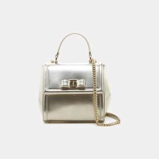 Salvatore Ferragamo Small Carrie Vara Bow Metallic Shoulder Bag