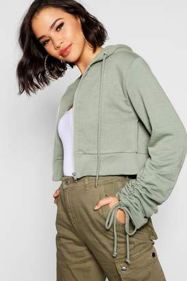 boohoo Ruched Sleeve Detail Cropped Hoody