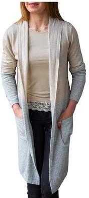 Luella Beige and Silver Colour Block Cashmere Blend Cardigan - Silver/Grey/Copper
