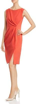 Paule Ka Crepe Backed Satin Knot Sheath Dress