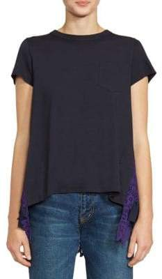Sacai Lace Applique Pleated Tee