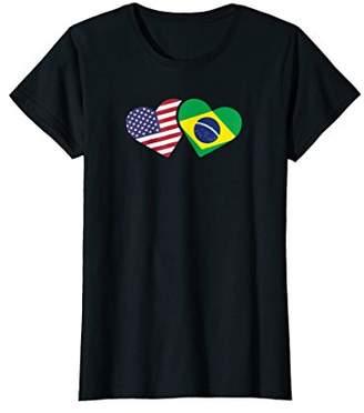 Womens Brazil USA Flag T Shirt Heart Brazilian Americans Love Cute