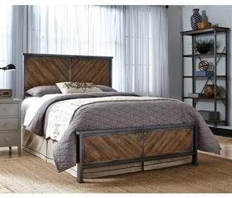 Fashion Bed Group Braden Complete Metal Bed and Steel Support Frame with Rustic Reclaimed Faux Wood in Diagonal Pattern Frame, Rustic Tobacco Finish, Full