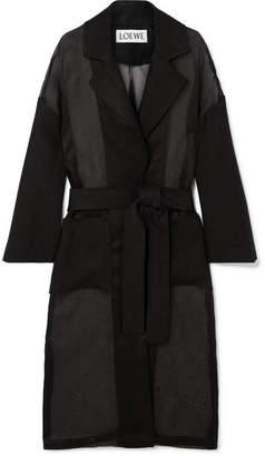 Loewe Linen-trimmed Cotton-organza Trench Coat - Black