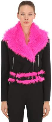 Jeremy Scott Wool Biker Jacket W/ Faux Fur Details